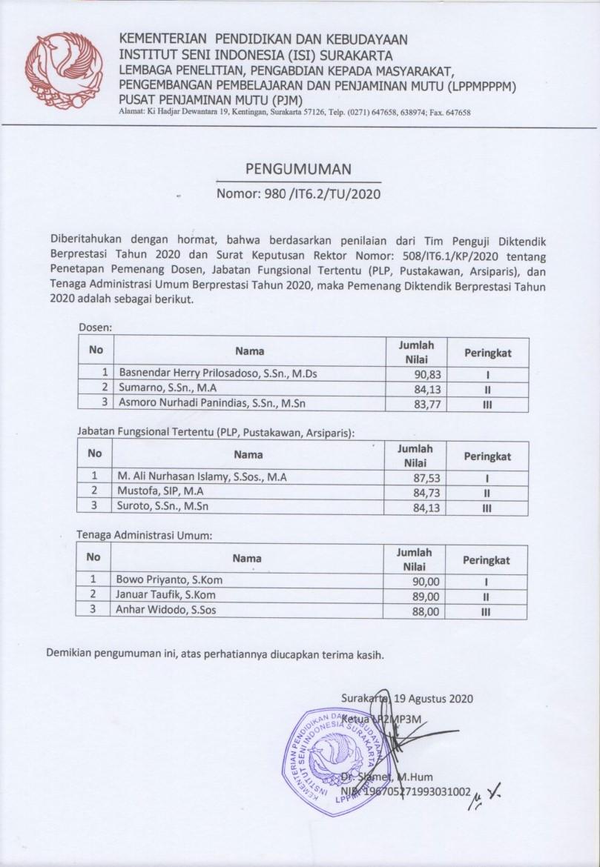 Pengumuman Pemenang Diktendik Berprestasi 2020 ISI Surakarta